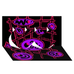 Purple and red abstraction Twin Hearts 3D Greeting Card (8x4)