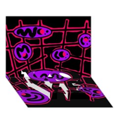 Purple And Red Abstraction Love Bottom 3d Greeting Card (7x5)