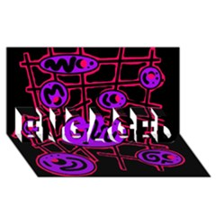 Purple and red abstraction ENGAGED 3D Greeting Card (8x4)
