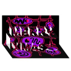 Purple and red abstraction Merry Xmas 3D Greeting Card (8x4)