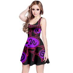 Purple and red abstraction Reversible Sleeveless Dress