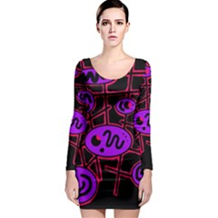 Purple and red abstraction Long Sleeve Bodycon Dress