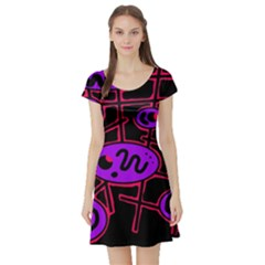 Purple and red abstraction Short Sleeve Skater Dress