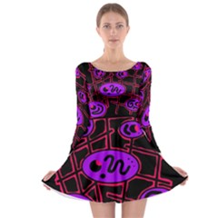 Purple and red abstraction Long Sleeve Skater Dress