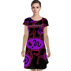 Purple and red abstraction Cap Sleeve Nightdress