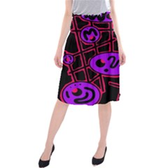 Purple And Red Abstraction Midi Beach Skirt