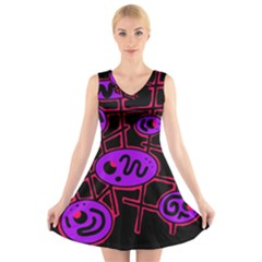 Purple and red abstraction V-Neck Sleeveless Skater Dress
