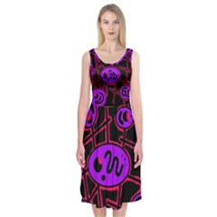 Purple and red abstraction Midi Sleeveless Dress