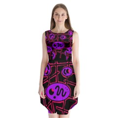 Purple and red abstraction Sleeveless Chiffon Dress