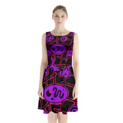 Purple and red abstraction Sleeveless Chiffon Waist Tie Dress