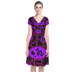 Purple And Red Abstraction Short Sleeve Front Wrap Dress