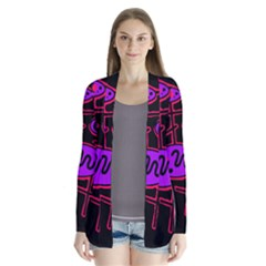 Purple and red abstraction Drape Collar Cardigan