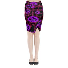 Purple and red abstraction Midi Wrap Pencil Skirt