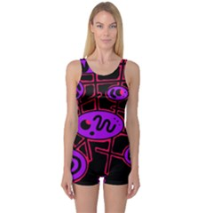 Purple and red abstraction One Piece Boyleg Swimsuit