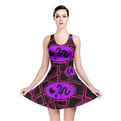 Purple and red abstraction Reversible Skater Dress