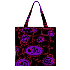 Purple and red abstraction Zipper Grocery Tote Bag