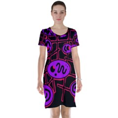 Purple and red abstraction Short Sleeve Nightdress