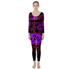 Purple and red abstraction Long Sleeve Catsuit