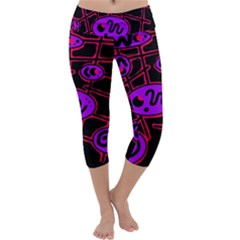 Purple and red abstraction Capri Yoga Leggings