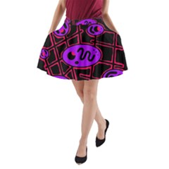 Purple and red abstraction A-Line Pocket Skirt