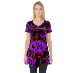 Purple and red abstraction Short Sleeve Tunic