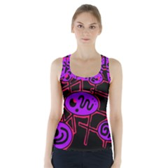 Purple And Red Abstraction Racer Back Sports Top