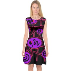 Purple and red abstraction Capsleeve Midi Dress
