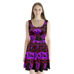 Purple And Red Abstraction Split Back Mini Dress