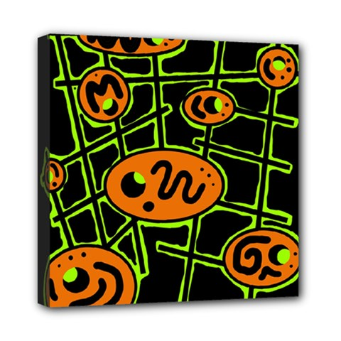 Orange and green abstraction Mini Canvas 8  x 8