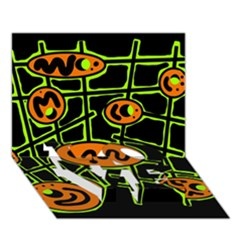 Orange and green abstraction LOVE Bottom 3D Greeting Card (7x5)
