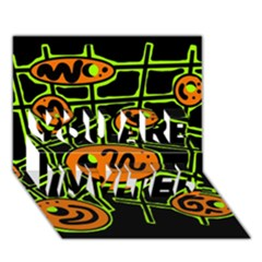 Orange and green abstraction YOU ARE INVITED 3D Greeting Card (7x5)