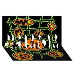 Orange and green abstraction #1 MOM 3D Greeting Cards (8x4)