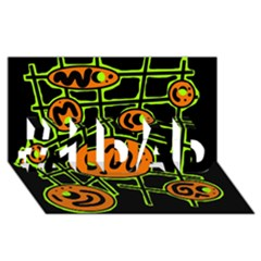 Orange and green abstraction #1 DAD 3D Greeting Card (8x4)
