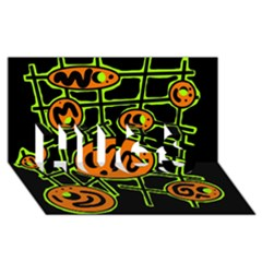 Orange and green abstraction HUGS 3D Greeting Card (8x4)