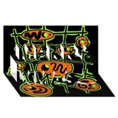 Orange and green abstraction Merry Xmas 3D Greeting Card (8x4)