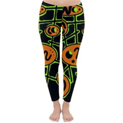 Orange and green abstraction Winter Leggings