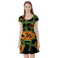 Orange and green abstraction Short Sleeve Skater Dress