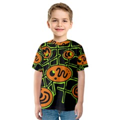 Orange and green abstraction Kid s Sport Mesh Tee