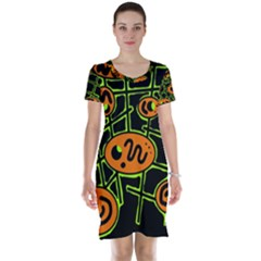 Orange and green abstraction Short Sleeve Nightdress