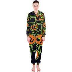 Orange and green abstraction Hooded Jumpsuit (Ladies)