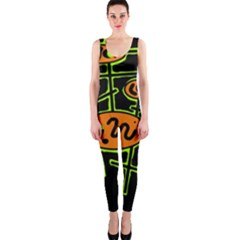 Orange and green abstraction OnePiece Catsuit