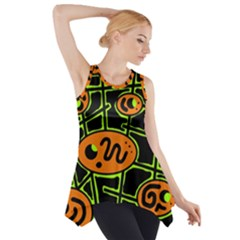 Orange And Green Abstraction Side Drop Tank Tunic