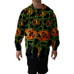 Orange and green abstraction Hooded Wind Breaker (Kids)