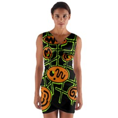 Orange and green abstraction Wrap Front Bodycon Dress