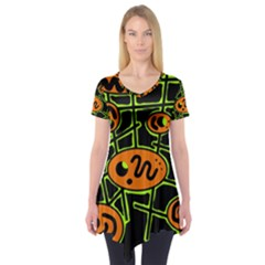 Orange and green abstraction Short Sleeve Tunic