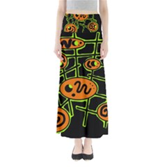 Orange And Green Abstraction Maxi Skirts