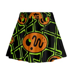 Orange and green abstraction Mini Flare Skirt