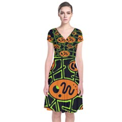 Orange And Green Abstraction Short Sleeve Front Wrap Dress