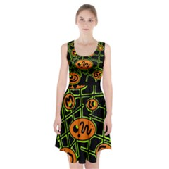 Orange And Green Abstraction Racerback Midi Dress