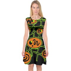 Orange and green abstraction Capsleeve Midi Dress